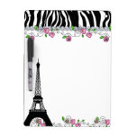 Paris Eiffel Tower Zebra White Board Pink Roses Dry Erase Board