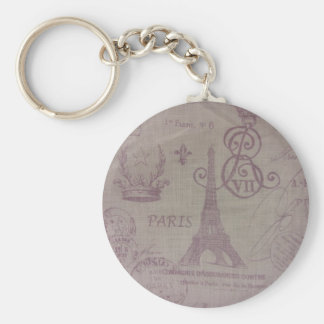 Paris -- Eiffle Tower Basic Round Button Keychain