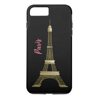 Paris Eiffle Tower Pink and Gold Black iPhone 7 Plus Case