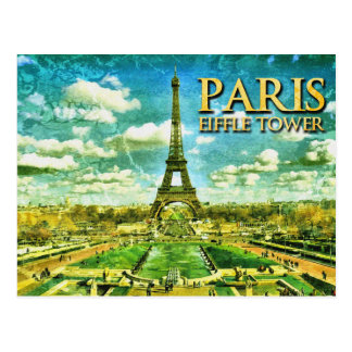 Paris Eiffle Tower Vintage Drawing Postcard