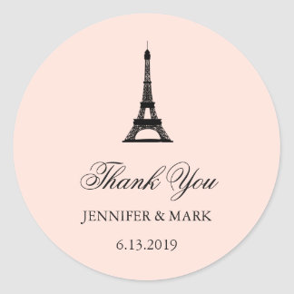 Paris Elegance Blush Pink Wedding Thank You Classic Round Sticker