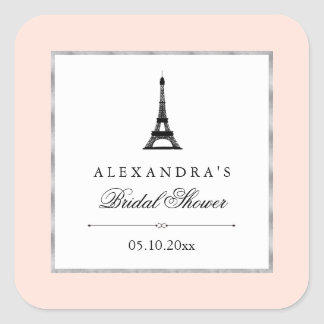 Paris Elegance Bridal Shower Square Sticker