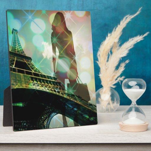 París elegante moderna chispea moda de la silueta placa para mostrar