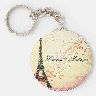 París en amor - torre Eiffel Llavero Redondo Tipo Pin