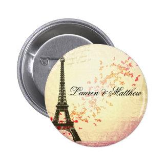 París en amor - torre Eiffel Pin Redondo De 2 Pulgadas