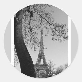 París en b&w pegatina redonda