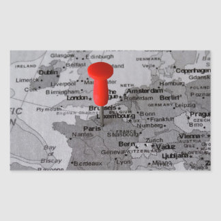 París en el mapa pegatina rectangular