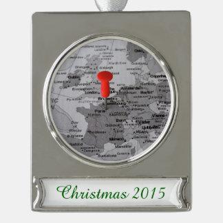 París en el mapa adornos navideños plateados