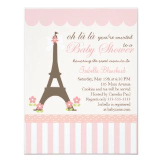 """París en fiesta de bienvenida al bebé de la invitación 4.25"""" x 5.5"""""""