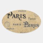 París en la arpillera pegatina ovaladas personalizadas