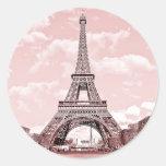 París en la torre Eiffel rosada Francia Etiqueta Redonda