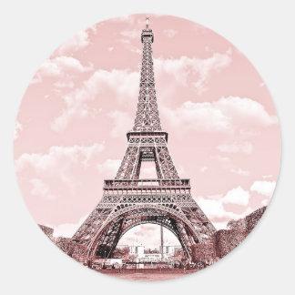 París en la torre Eiffel rosada Francia Pegatina Redonda