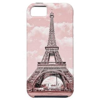 París en torre Eiffel rosada iPhone 5 Protectores