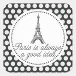 París es siempre una buena idea calcomanías cuadradas