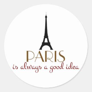 París es siempre una buena idea pegatina redonda