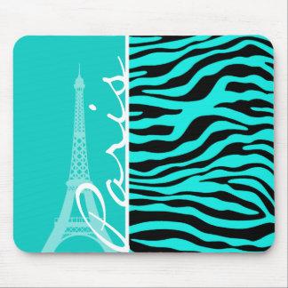 París; Estampado de animales brillante de la cebra Tapete De Raton