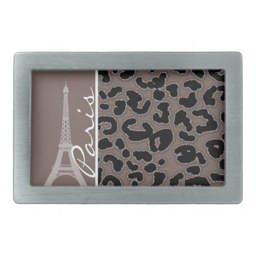 París; Estampado de animales de color topo profund Hebilla De Cinturón Rectangular
