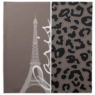 París; Estampado de animales de color topo profund Servilleta
