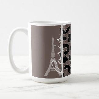 París; Estampado de animales de color topo Taza