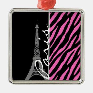 París; Estampado de zebra rosado y negro Ornamento De Navidad