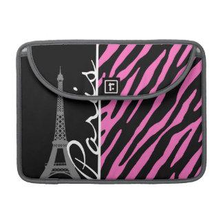 París; Estampado de zebra rosado y negro Fundas Para Macbook Pro