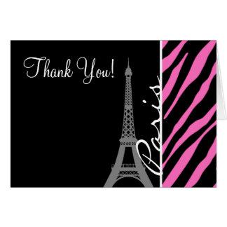 París; Estampado de zebra rosado y negro Tarjeton