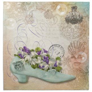 Paris etchings chandelier flowers napkin