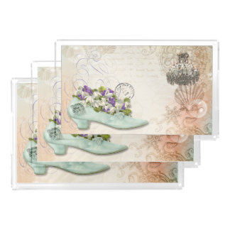 Paris etchings chandelier flowers serving tray