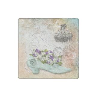 Paris etchings chandelier flowers stone magnet