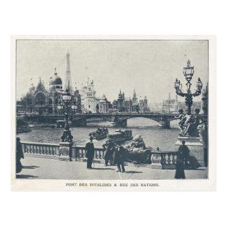 Paris Expo 1900, Pont des invalides et Rue des nat Post Card