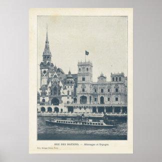 Paris Expo 1900, Rue des nations allemagne et Espa Poster