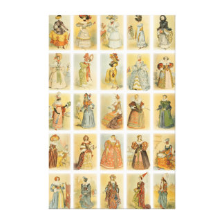 Paris Fashion From Middle Ages To 19th Century Canvas Print