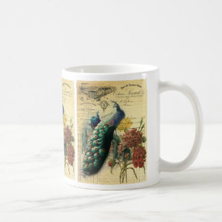 paris fashion girly vintage peacock  floral coffee mug