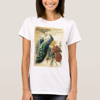 paris fashion girly vintage peacock  floral T-Shirt