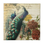 paris fashion girly vintage peacock  floral small square tile