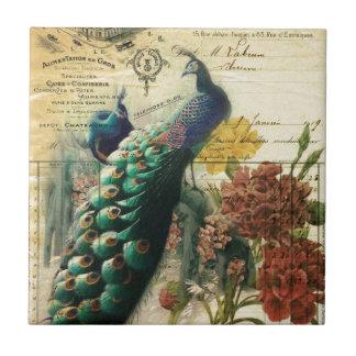 paris fashion girly vintage peacock  floral ceramic tiles
