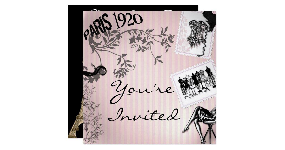 Paris Fashion Theme Shower Invitations Zazzle