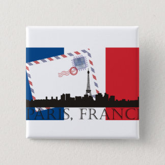 Paris Flag and Skyline Button