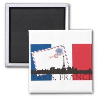 Paris Flag and Skyline Magnet