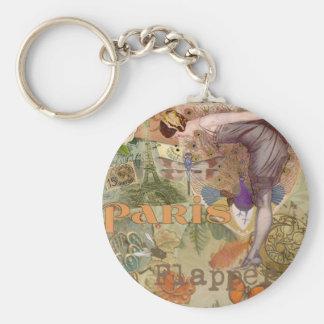 Paris Flapper Lady Peacock Keychain