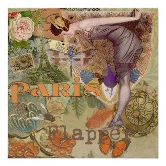 Paris Flapper Vintage Art Deco Lady Peacock Poster