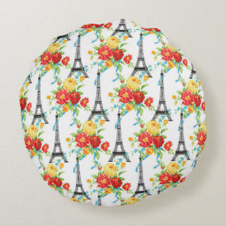 Paris Floral Eiffel Tower on White Round Pillow