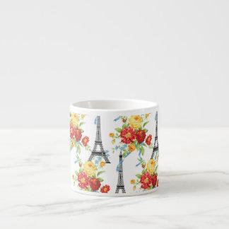 Paris Floral Eiffel Tower on White 6 Oz Ceramic Espresso Cup