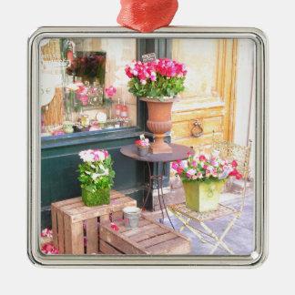 Paris Flower Shop Metal Ornament