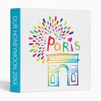 Paris France | Arc de Triomphe | Neon Design 3 Ring Binder