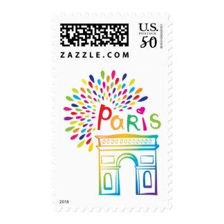 Paris France   Arc de Triomphe   Neon Design Postage