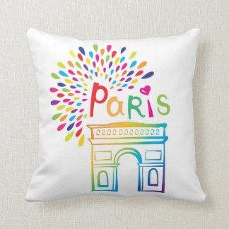 Paris France | Arc de Triomphe | Neon Design Throw Pillow