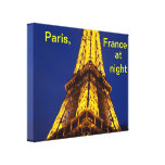 Paris, France at Night Stretched Canvas Prints