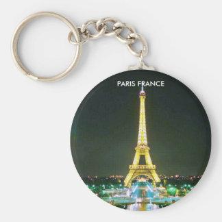 PARIS FRANCE BASIC ROUND BUTTON KEYCHAIN