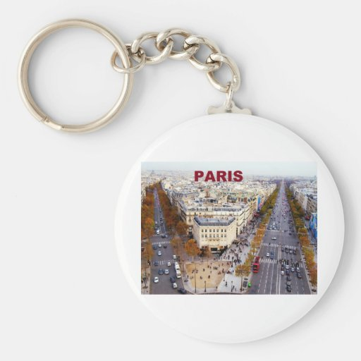 Paris France Champs Elysees (St.K) Basic Round Button Keychain